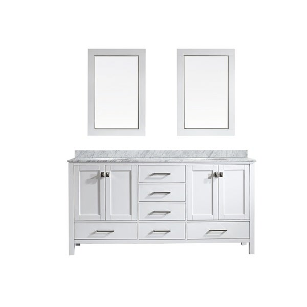 Eviva Aberdeen 72 Transitional White Bathroom Vanity with White Carrera Countertop