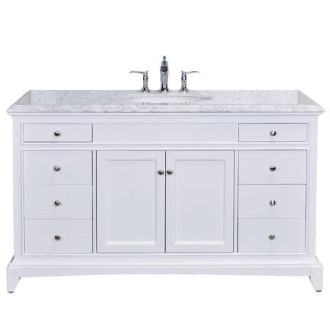 "Eviva Elite Stamford 60"" White Single Sink Bathroom Vanity Double Ogee Edge White Carrara Top"