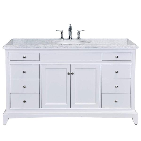 "Eviva Elite Stamford 60"" White Single Sink Bathroom Vanity Double Ogee Edge White Carrara Top. Opens flyout."