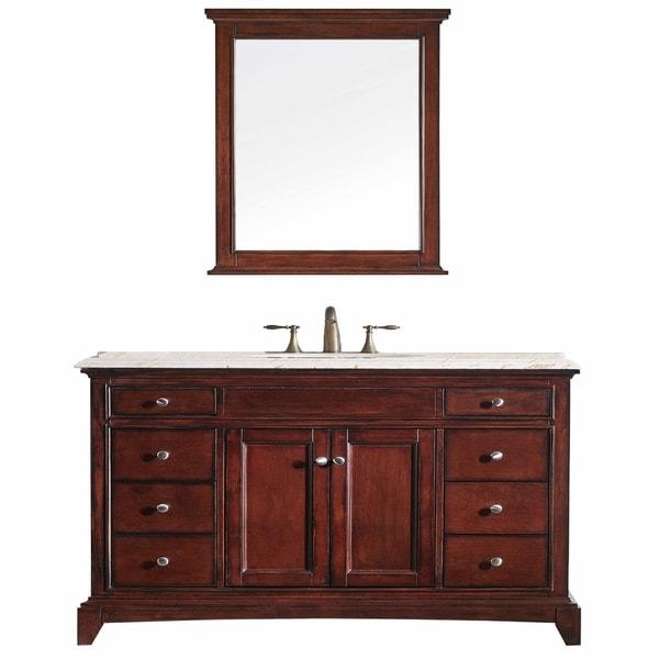 Shop Eviva Elite Stamford Brown Solid Wood Bathroom Vanity ...