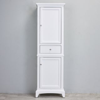 "wonderful white bathroom linen storage cabinets | Shop Eviva Elite Stamford® 24"" White Solid Wood Side/Linen ..."