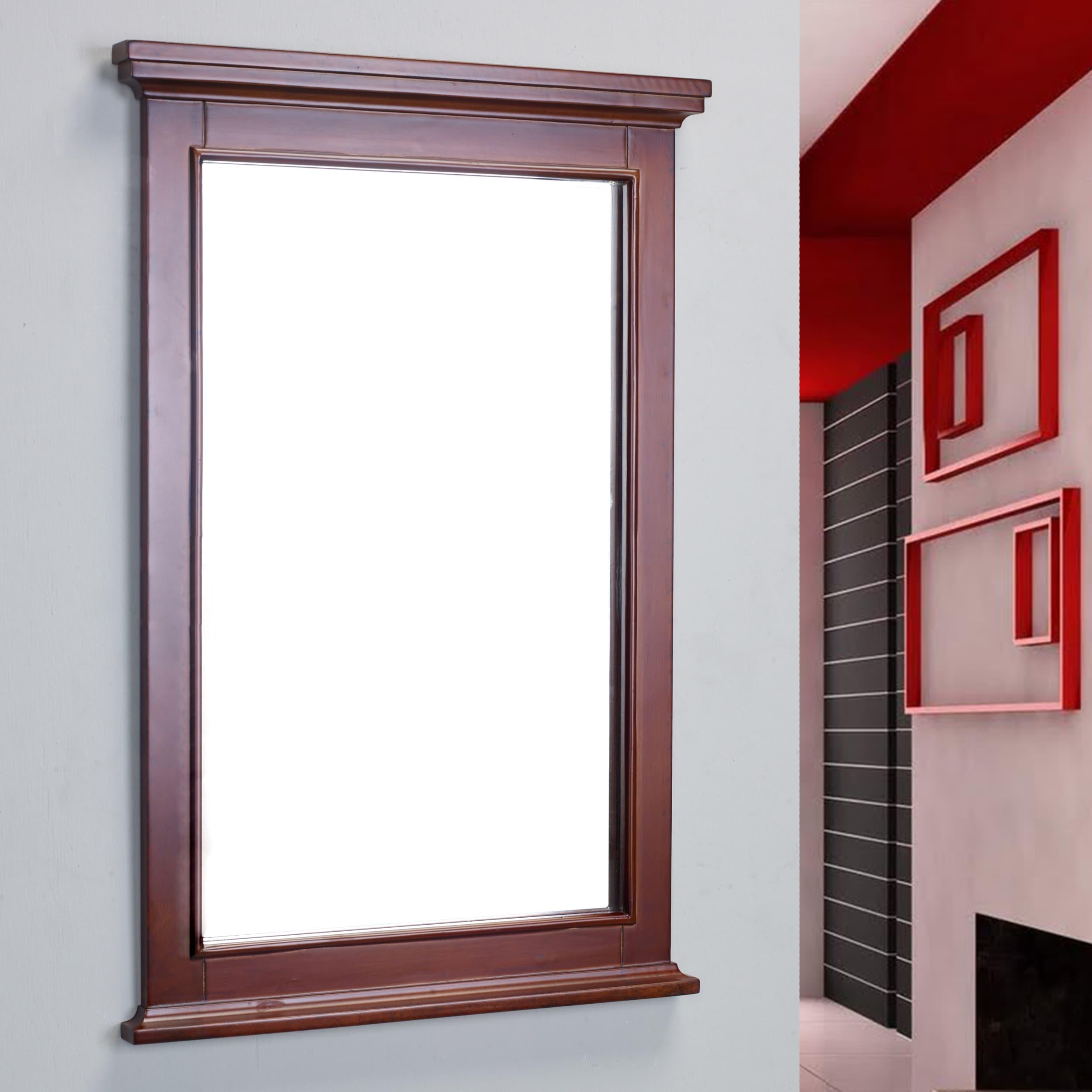 Eviva Elite Stamford Teak Full Framed Bathroom Vanity Mirror Overstock 13935107