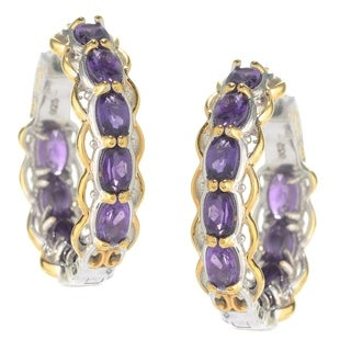 One-of-a-kind Michael Valitutti Palladium Silver Multi Amethyst Inside-out Hoop Earrings
