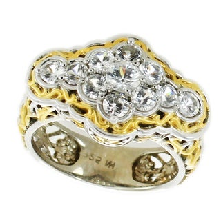 One-of-a-kind Michael Valitutti Palladium Silver White Zircon Cluster Ring