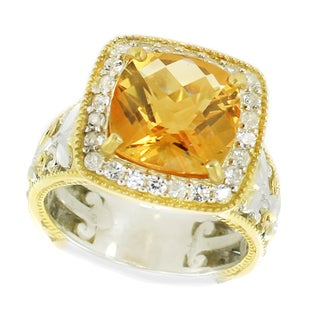 One-of-a-kind Michael Valitutti Palladium Silver Cushion Golden Citrine and White Zircon Ring