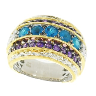 One-of-a-kind Michael Valitutti Palladium Silver Brazilian Blue Apatite and African Amethyst Three Row Ring