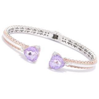 Michael Valitutti Palladium Silver Pink Amethyst Heart Kissing Cuff Bracelet