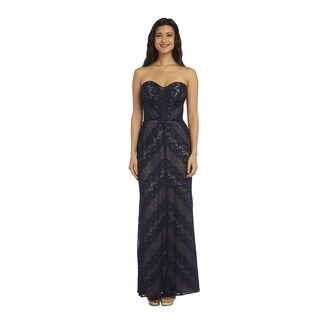 Nightway Women's Navy Long Strapless Dress