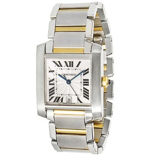 18k Gold & Steel Pre-Owned Cartier Tank Francaise W51005Q4 Unisex Watch