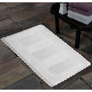 Saffron Fabs Handmade Soft Cotton Reversible Crochet Lace Border Bath Rug