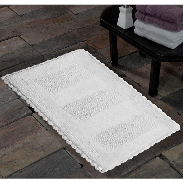 Saffron Fabs Handmade Soft Cotton Reversible Crochet Lace Border Bath Rug