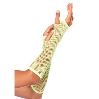 Leg Avenue Greenish-Yellow Nylon-blend Triangle Net Fingerless Gloves
