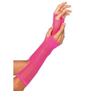 Leg Avenue Pink Triangle Net Fingerless Gloves