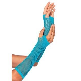 Leg Avenue Triangle Net Blue Nylon Fingerless Gloves