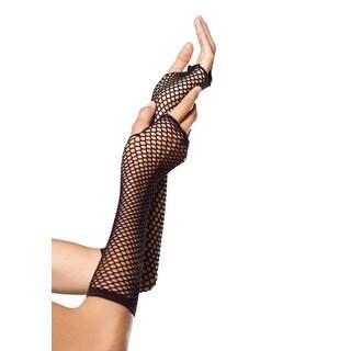Leg Avenue Black Nylon Triangle Net Fingerless Gloves