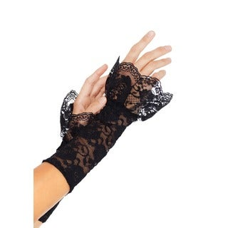 Leg Avenue Stretch Black Lace Gauntlet Arm Warmers with Scalloped Lace Ruffle Trim