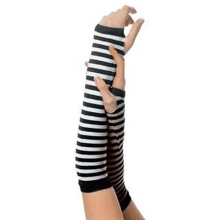 Leg Avenue Black Nylon Striped Arm Warmers