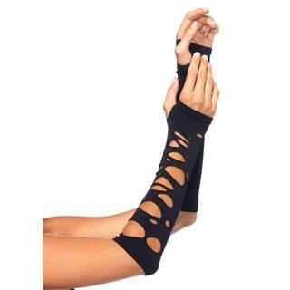 Leg Avenue Distressed Black Nylon Arm Warmers