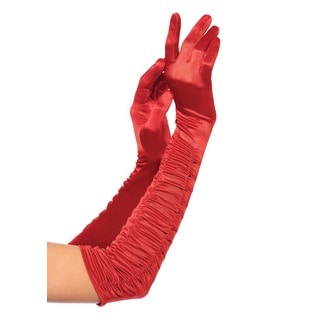 Leg Avenue Red Satin Opera Length Ruched Gloves