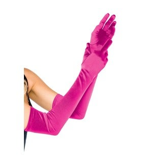 Leg Avenue Pink Satin Extra Long Gloves