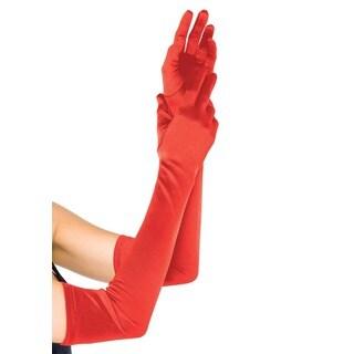 Leg Avenue Red Satin Long Dress Gloves