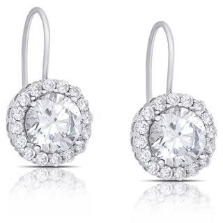 Dolce Giavonna Sterling Silver Cubic Zirconia Halo Leverback Earrings
