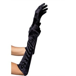 Leg Avenue Black Satin Gloves with Snap Buttons