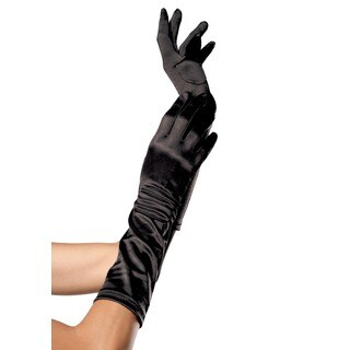 Leg Avenue Black Elbow-length Satin Gloves
