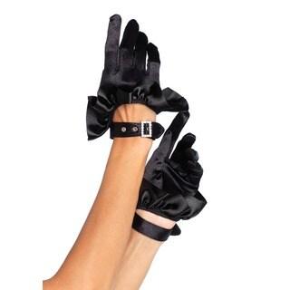 Leg Avenue Black Cropped Satin Ruffled Gloves