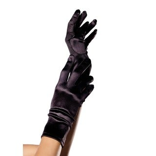 Leg Avenue Black Satin Wrist Length Gloves