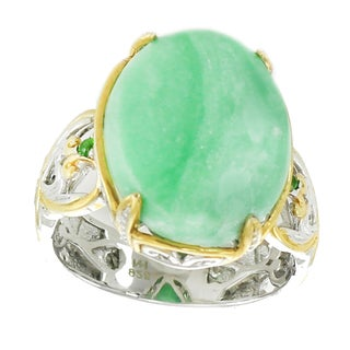 One-of-a-kind Michael Valitutti Palladium Silver Variscite & Chrome Diopside Ring