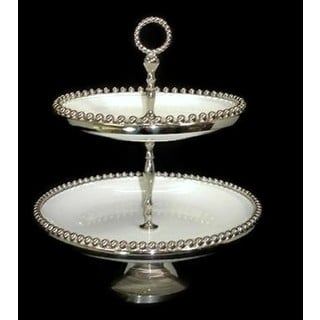 Elegance Bead Ceramic 2-Tier Tray