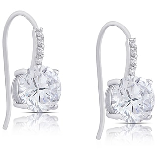 Dolce Giavonna Sterling Silver Cubic Zirconia Dangle Earrings