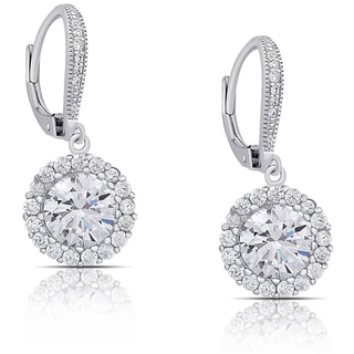 Dolce Giavonna Sterling Silver Cubic Zirconia Halo Design Leverback Earrings