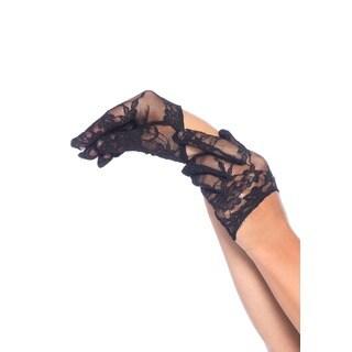 Leg Avenue Mini Cropped Black Nylon Lace Gloves