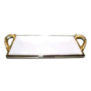 Elegance Gold Feather Ceramic Rectangular Tray with Handle L: 14.25""