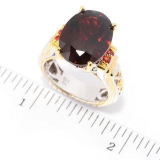 Michael Valitutti Palladium Silver Almandine Mozambique Garnet and Orange Sapphire Ring