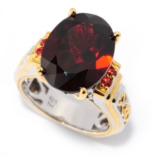 Michael Valitutti Palladium Silver Almandine Mozambique Garnet and Orange Sapphire Ring