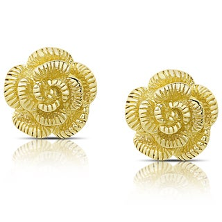 Dolce Giavonna Gold Over Silver or Sterling Silver Blooming Rose Stud Earrings