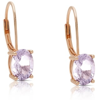 Dolce Giavonna Rose Gold Over Sterling Silver Amethyst Oval Leverback Earrings