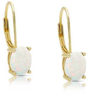 Dolce Giavonna Gold Over Sterling Silver Opal Oval Leverback Earrings
