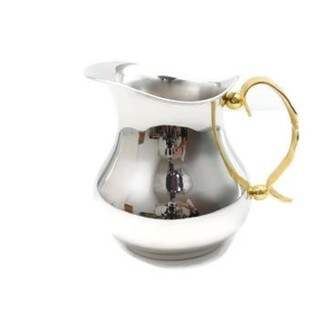 "Heim Concept Gold Feather Nickel Plated on Steel, Non-Tarnish Pitcher H: 6"", with Gold Plated Handle"