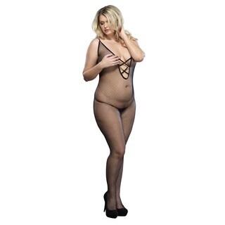 Leg Avenue Black Nylon Plus-size V-back Lace-up Bodystocking
