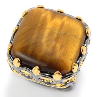 Michael Valitutti Palladium Silver Tiger's Eye & Black Spinel Cocktail Ring