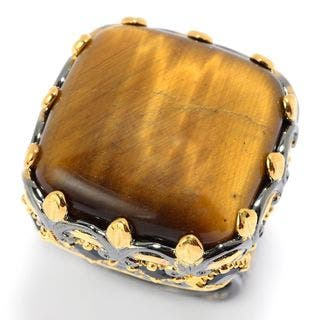 Michael Valitutti Palladium Silver Tiger's Eye & Black Spinel Cocktail Ring|https://ak1.ostkcdn.com/images/products/13935863/P20567306.jpg?impolicy=medium