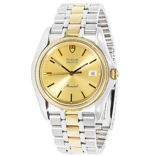 18K Yellow Gold & Stainless Steel Pre-Owned Tudor Monarch 15633 Mens Watch