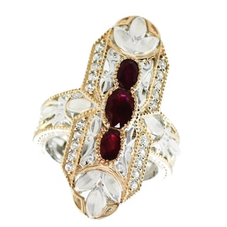 One-of-a-kind Michael Valitutti Palladium Silver Ruby and White Zircon Three Stone Ring