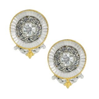 One-of-a-kind Michael Valitutti Palladium Silver Bright White Zircon Stud Earrings