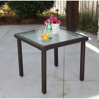 Recessed Brown Wicker Square Table