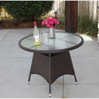 Porch & Den NoDa Atmore Brown Wicker Round Table